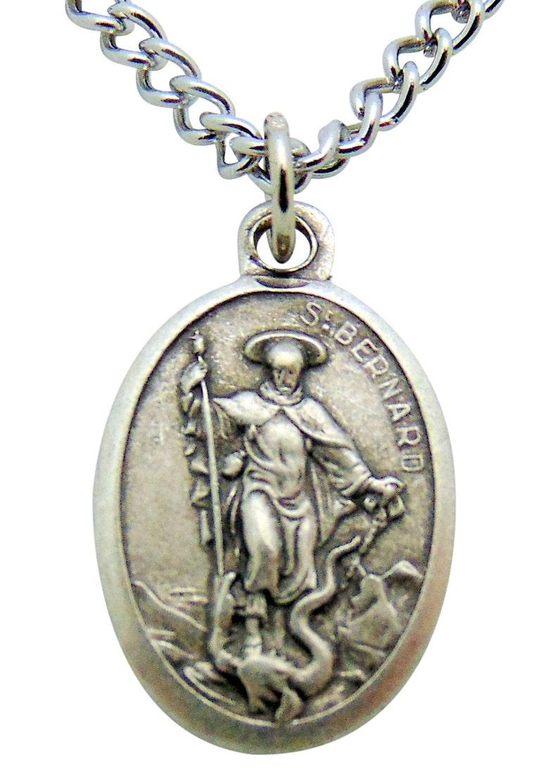 St Bernard Medal 34 Pendant w 24 Stainless Steel Chain