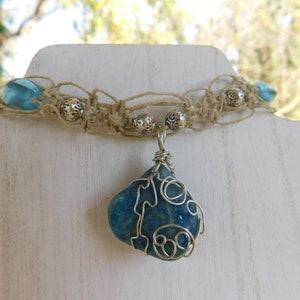 Aura Quartz Hemp Choker vday Tangerine Quartz Healing Crystal Crystal Valentine/'s day Crystal Necklace for her The Macy