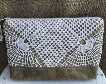 Vintage Crocheted Doily Pouch