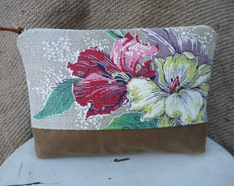 Vintage Bark Cloth Pouch