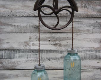 Vintage Well Pulley / Mason Jar Pendant Light