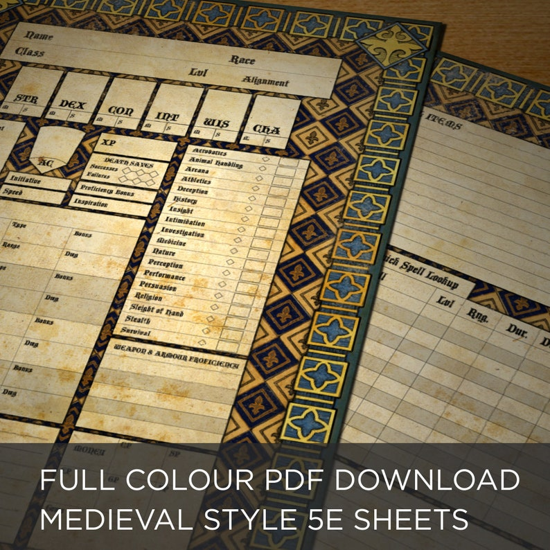 graphic about Printable Dungeon Tiles Pdf identified as Printable PDF Dungeons Dragon 5E Medieval Temperament Sheet Comprehensive Color