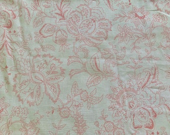 """TOILE Floral Dusty Pink on Light Ivory Cotton Lawn Allover Print 100% Cotton 56"""" Wide Fabric By the Yard"""