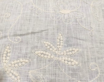 """Linen 100%, Cream with Ivory Embroidery, 4.5oz Hanky Weight 56"""" Wide Fabric By The Yard"""