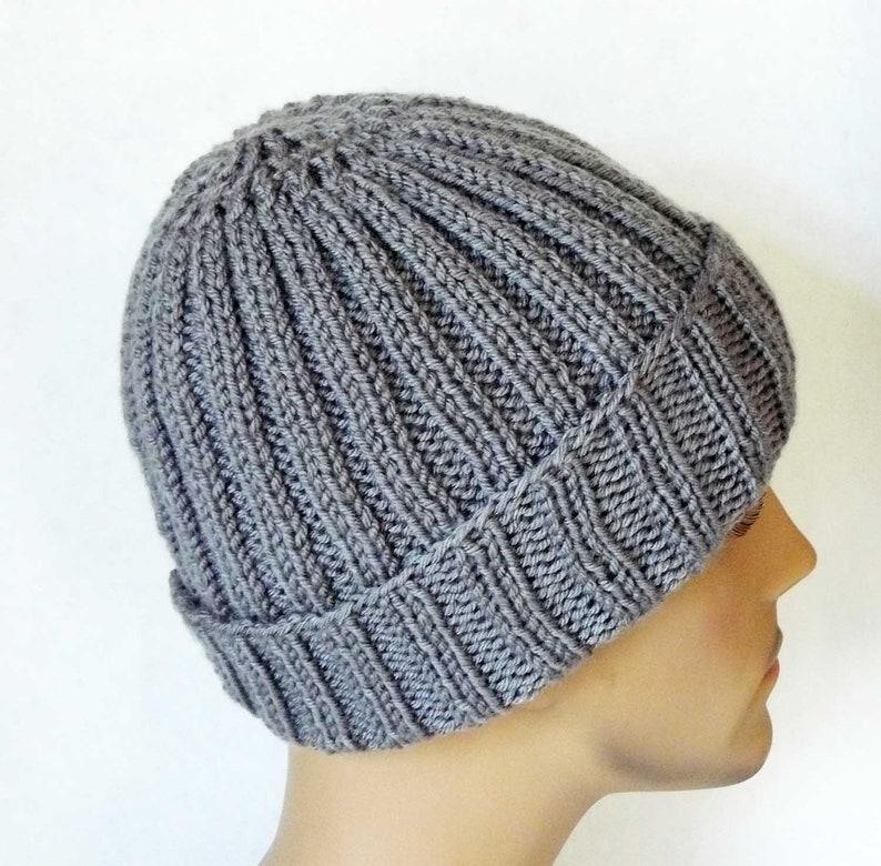 33972ca3728 Knitting PATTERN Knit Slouchy Beanie Hat Pattern Mens Teens