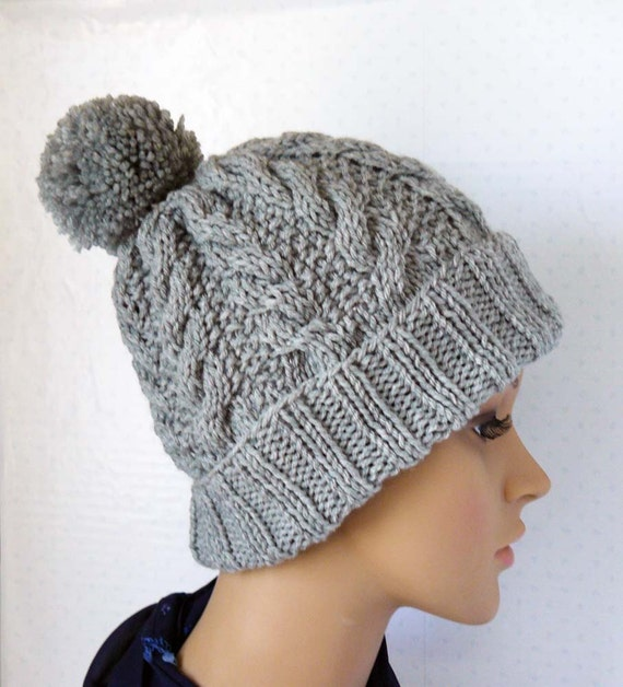 Knitting Pattern Knitted Cable Beanie Womens Chunky Knit Hats Pom