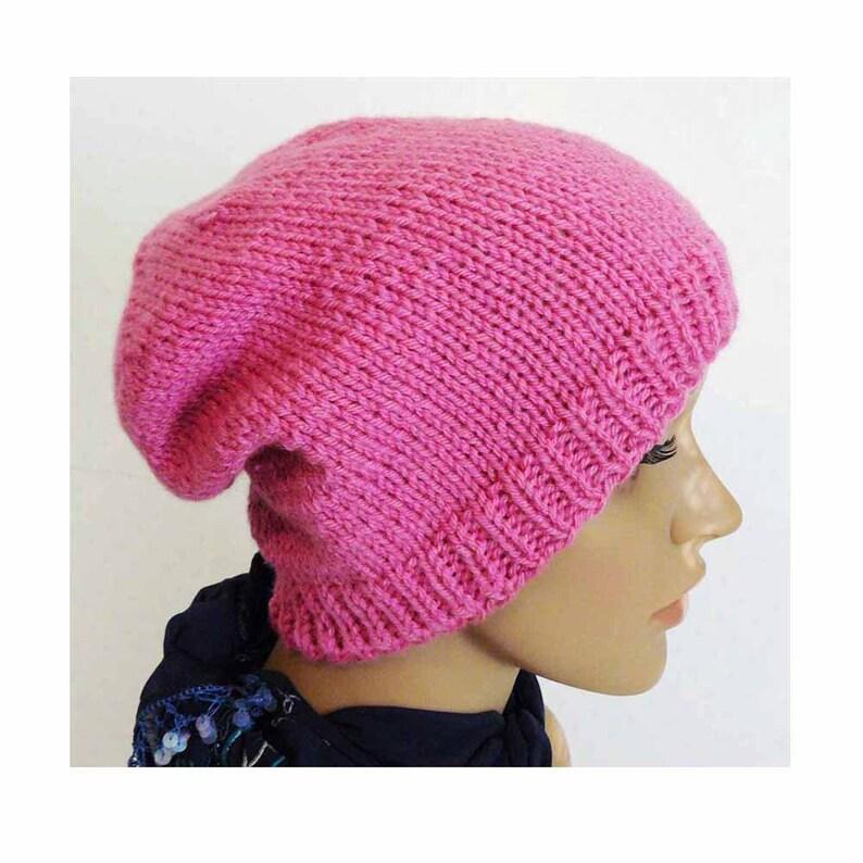 86a7b97eff8 Knitting PATTERN Knit Slouchy Beanie Pattern Womens Knit