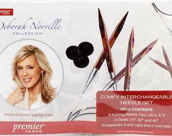 Deborah Norville - Comfy Interchangeable Knitting Needles Set - Size 4, 5, 6 -  3 cords in lengths 24, 32 and 40 inches - #8901
