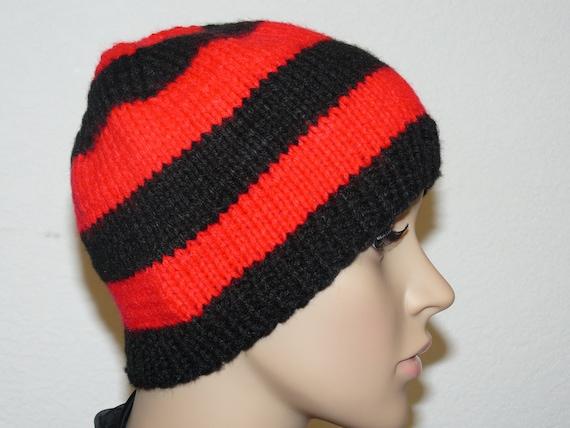 Knitting Pattern Knit Striped Beanie Pattern Womens Knit Etsy