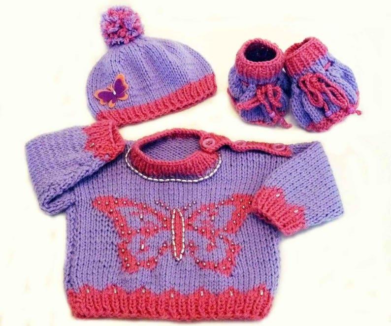 c3b1efa39 Knitting PATTERN Knit Baby Butterfly Sweater Hat Booties Set