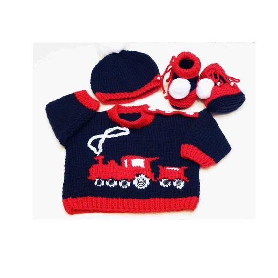 Tricot bébé rame - pull, bonnet et chaussons - 0 à 3 mois - Baby Shower Gift - couleur bleu marine - bébé ou Reborn poupée 20 en