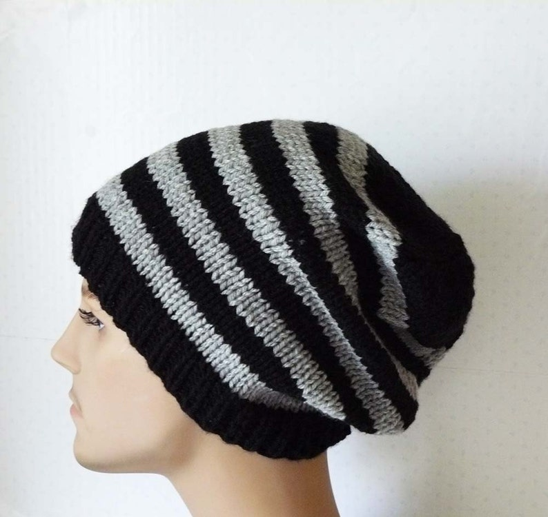 da254ac8db4 Knitting PATTERN Knit Slouchy Beanie Pattern Mens Knit Hats