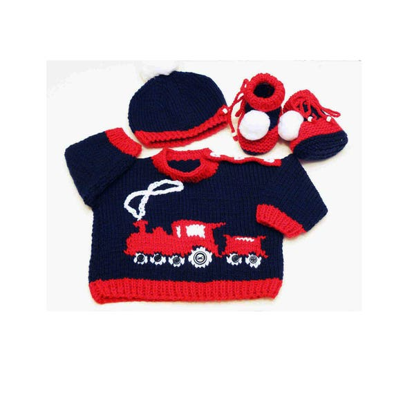 f981c506c Knitting PATTERN Knit Baby Train Sweater Hat   Booties Set