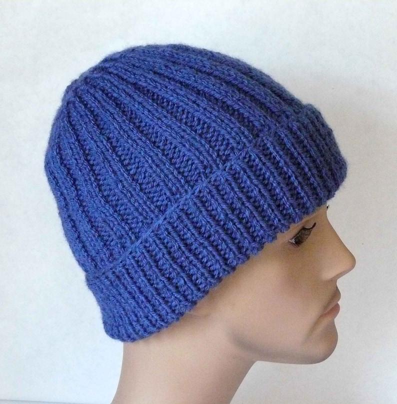 0cb2be42f0e Knitting PATTERN Knit Ribbed Beanie Hat Pattern Men Teens