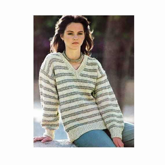 Knitting Pattern Vintage Pdf Patterns Womens Striped Knit Etsy