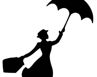 Disney Mary Poppins in flight stencil profile 5 formats stencils digital svg dwg dxf png pdf Silhouette cut cutting files sewing sing
