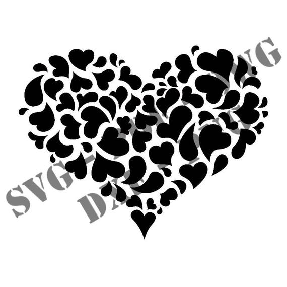 Stencil Heart of hearts 5 digital files Svg Png Pdf Dwg Dxf download  stencils file for cutting plotter
