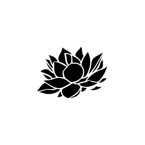 Stencil Floral Lotus Flower stencil Decoration 5 sizes Svg Pdf Png Dwg Dxf  cutter silhouette cameo