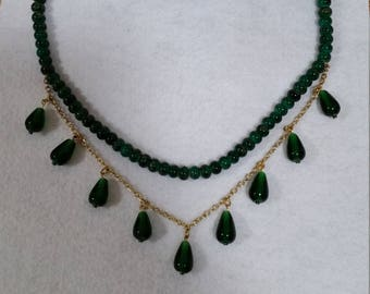Emeral Green and Gold Necklace Set