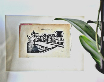 French Village -- Original Handprinted Linocut Wall Art --  La Roque Gageac, Dordogne -- Made in Seattle