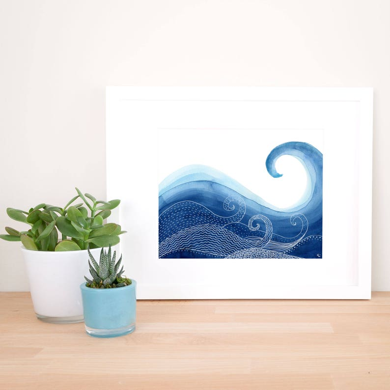 Ocean Wave Watercolour and Line Art Print image 0