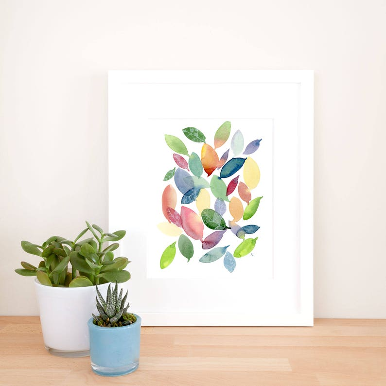 Colourful Falling Leaves Art Print  Watercolour and Line image 0