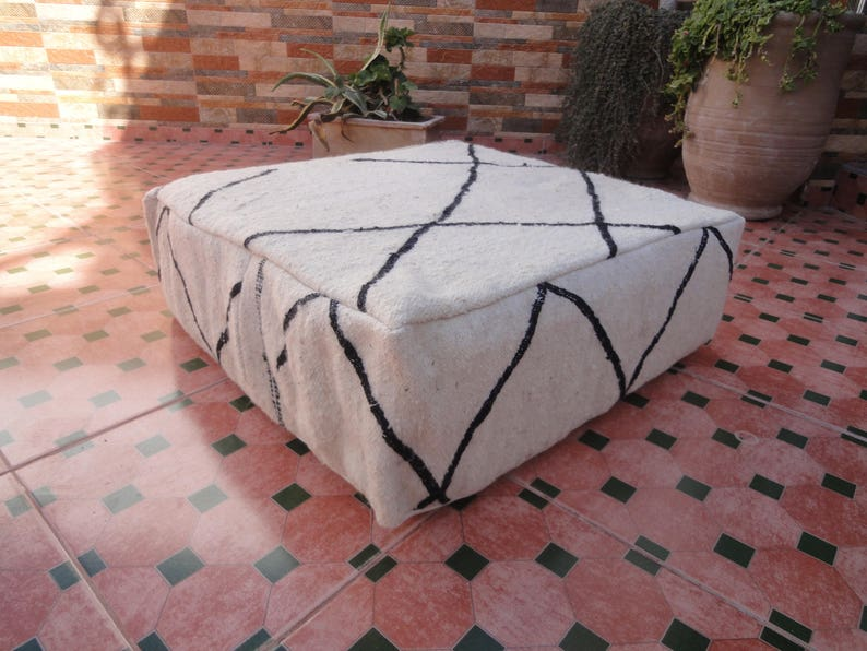 handmade moroccan berber beni ourain pouf ottoman