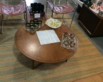 Mid Century Lane Round Coffee Table With Tile Inlay