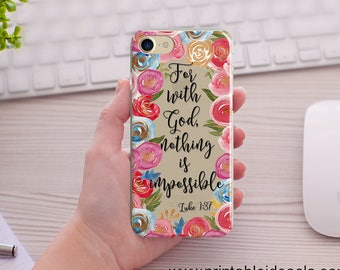 fe17e52982 Bible Verse Phone Case For with God Nothing is impossible, Floral Clear  Transparent iPhone Case XS Max/ XR/ 8/8Plus 6/6s 6splus/6plus7/7Plus