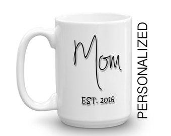 Baby Shower Gift, nouvelle maman, nouveau Parent cadeau, Mug personnalisé, mug en céramique, tasse de café, déclaration tasse Unique Mug typographie tasse à café