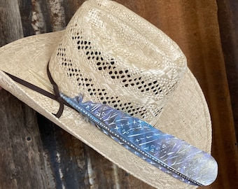 personalized hat feather with brand wild turkey wing rope accent Custom hat feather retro cowboy ropers hat feather name roping steer