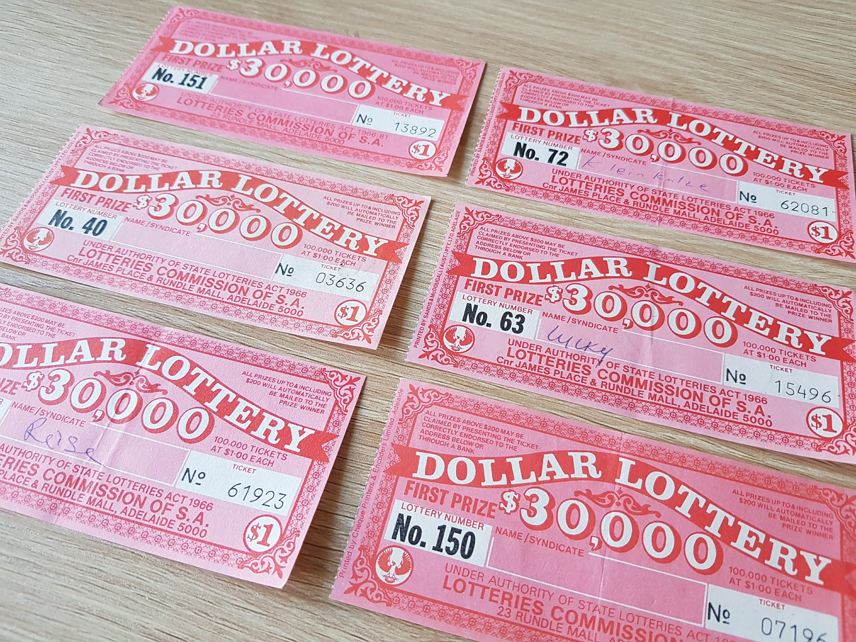 Vintage Lottery Tickets 6 pieces 1960\'s / Vintage Ephemera | Etsy