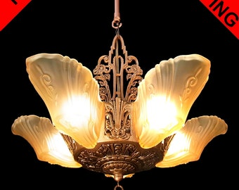 Art deco chandelier etsy art deco chandelier antique original honey color frosted glass 5 light slip shade antique bronze finish ceiling fixture pendant c1930s aloadofball Images