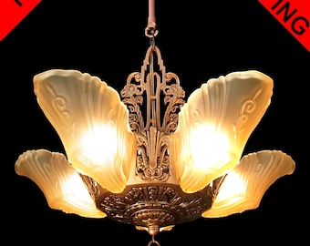 Art deco chandelier etsy art deco chandelier antique original honey color frosted glass 5 light slip shade antique bronze finish ceiling fixture pendant c1930s aloadofball