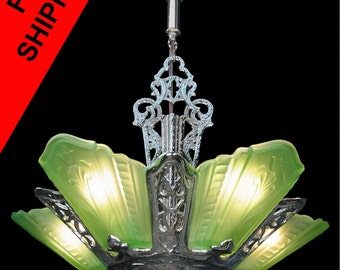 Art deco chandelier etsy antique art deco chrome and green glass 5 light slip shade chandelier lamp pendant ceiling fixture lighting by virden c1930s aloadofball Images