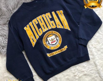 Vintage Michigan Wolverines Sweatshirt, University Michigan Crewneck, Michigan Wolverines Shirt,  Michigan Wolverines Print Logo, Best Gift