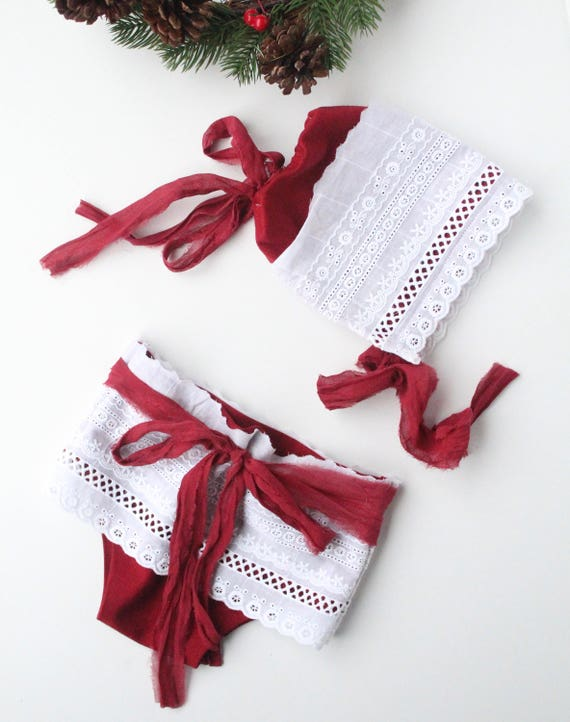 Noel Baby Bonnet and Bloomers set