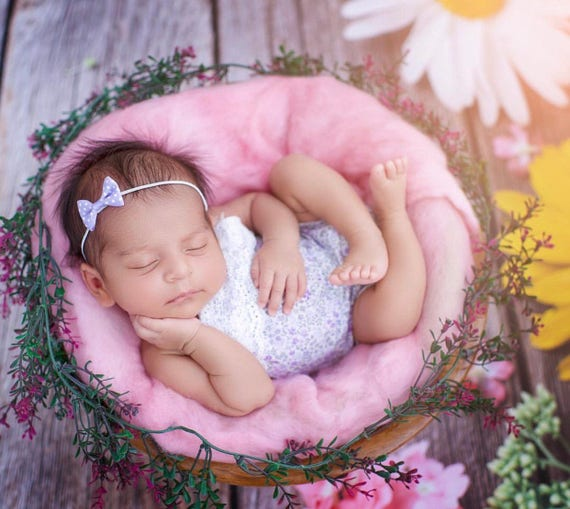 Newborn Girl Prop Romper - Spring Baby Romper - Baby Romper - Purple Flower Newborn Girl Romper - Photography Prop Romper