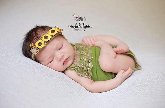 Green Newborn Girl Romper and Tieback Set - Fall Lace Baby Girl Romper - Green Romper - Newborn Girl Romper - Fall Photo Prop Romper