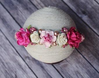 Pink Blossoms Tieback - Jute Blossoms Tieback - Silk Floral Tieback - Toddler Tieback Prop