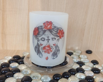 """Scented """"My Personalities Collide"""" pillar candle#which side do you prefer?#good meets evil#its a fine line#evil twins#the right path is hard"""