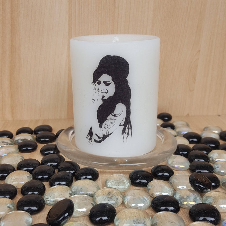 soul and rhythm n blues legend#valerie#Camden#gone way too soon#british music Scented Back to Black pillar candle#Amy Winehouse#jazz