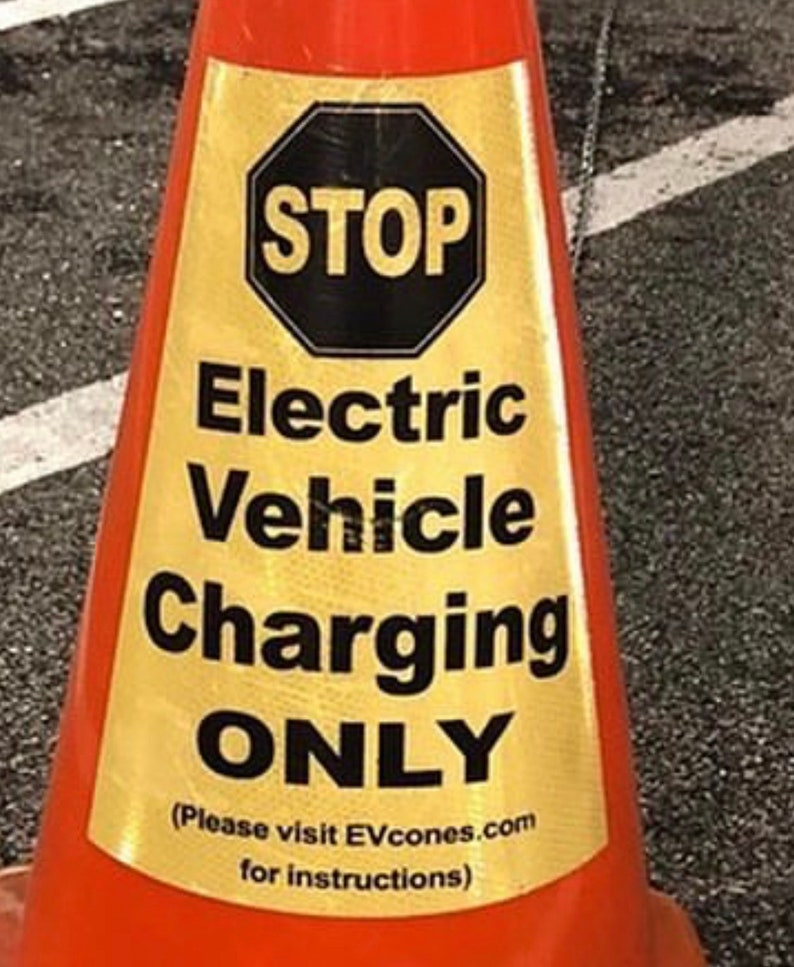 Two EVCONE Reflective Labels for Electric Vehicle Charging  image 1