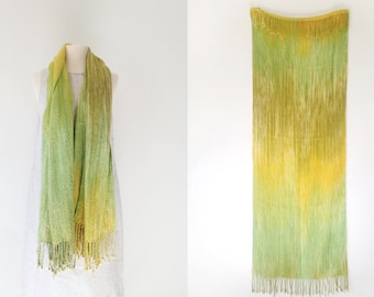 Vintage Hand Woven Ombre Dyed Woven Shawl Wrap Green Yellow with Fringe