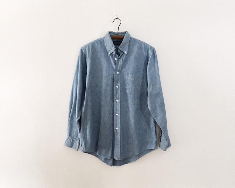 16  34 James Shirt Men/'s Vintage Blue Lightweight Cotton Button Down Shirt
