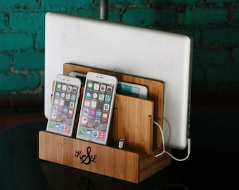 Bamboo Multi Charging Station | Eco-Friendly | Organizes Tech and Cords | Charges Phone, Tablet, Laptop