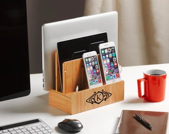 Deluxe customized bamboo multi charging station with USB+AC power | eco-friendly | organizes tech and cords | charges phones, tablet, laptop