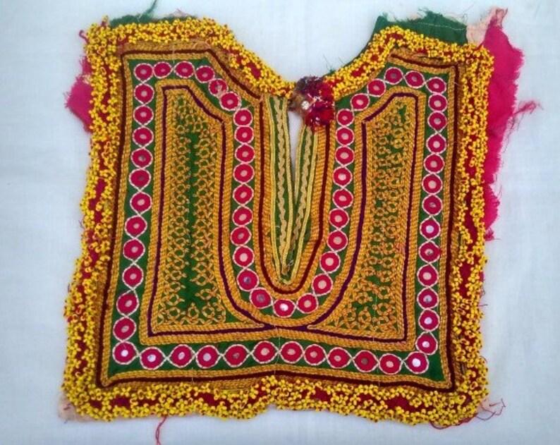 Very Fine mirror banjara work Vintage Handmade Banjara Neck Yoke with mirror work and embroidery,Beautiful handmade patch to embellish dress