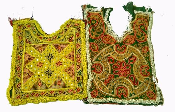 2 Pcs SET of Vintage Banjara yoke,Mirror Work yoke