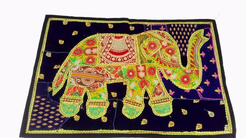 Patchwork Elephant Tapestry Wall hanging,colorful wall tapestry,tapestry for home decor,welcome tapestry,Gypsy hanging,Wall art wall decor